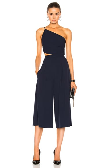 Michelle Mason Asymmetrical Bandeau Jumpsuit in Prussian Blue