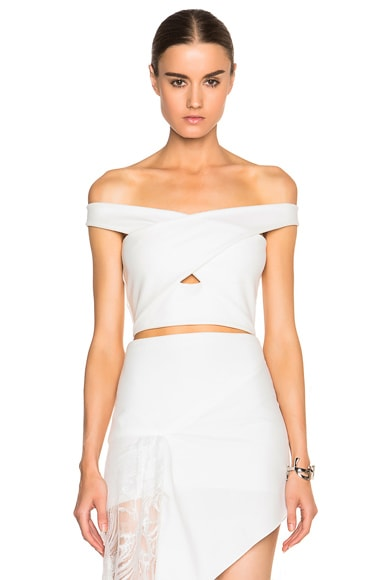 Mason by Michelle Mason Cross Strap Top in Ivory