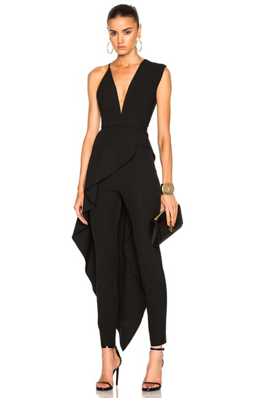 Michelle Mason Asymmetrical Plunge Cascade Top in Black