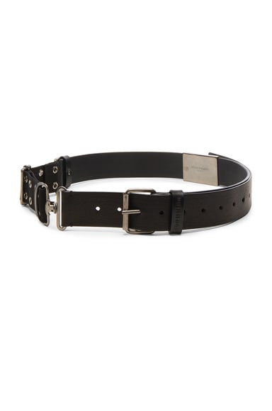Maison Margiela Military Canvas & Calf Leather Belt in Black