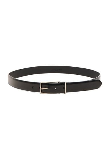Maison Margiela Bright Calf Leather Belt in Black