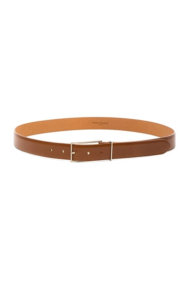 Maison Margiela Bright Calf Leather Belt in Papaya Tan