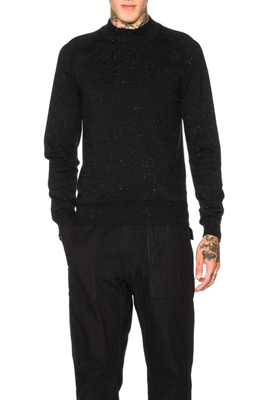 Maison Margiela Herringbone Detail Jersey Sweater in Black