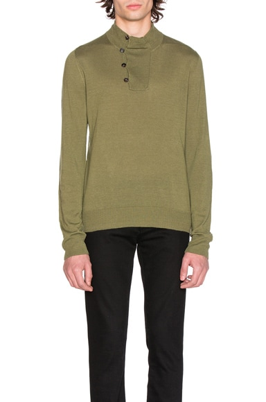 Maison Margiela Jersey Elbow Patch Sweater in Olive