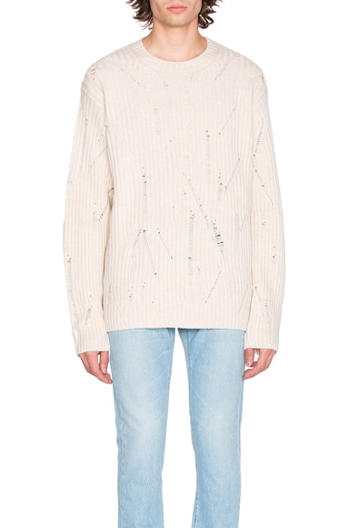 Maison Margiela Rib Sweater with Interruption in Off White