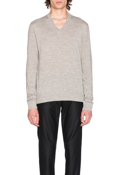 Maison Margiela Jersey V Neck Sweater with Elbow Patches in Light Grey Melange