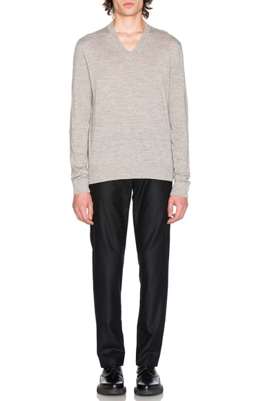 Jersey V Neck Sweater with Elbow Patches