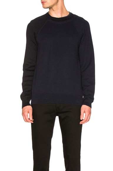 Maison Margiela Herringbone & Honeycomb Sweater in Dark Blue