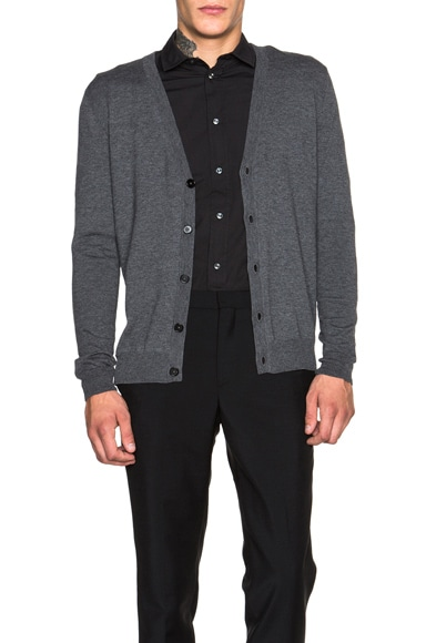 Maison Margiela Contrast Elbow Patch Cardigan in Charcoal