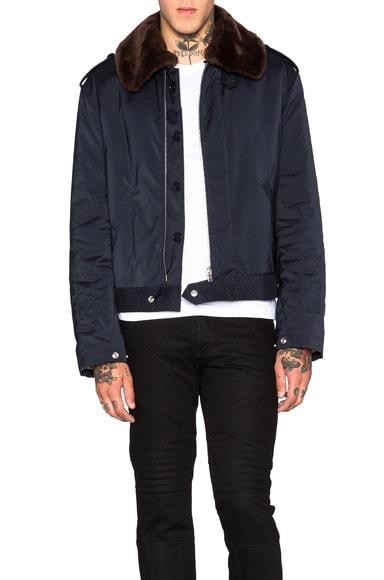 Maison Margiela Techno Twill Bomber Jacket with Faux Fur Collar in Dark Blue