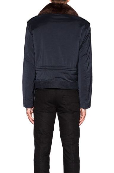 Techno Twill Bomber Jacket with Faux Fur Collar