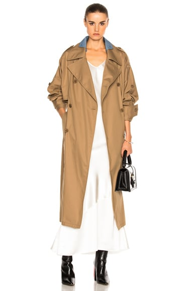 Maison Margiela Waterproof Cotton Twill Trench in Licorice