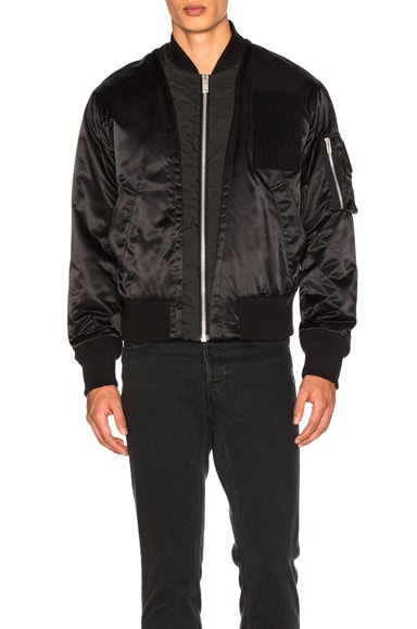 Maison Margiela Nylon Satin Bomber Jacket in Black