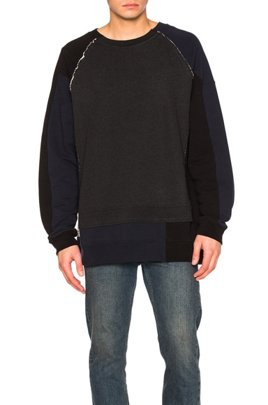 Maison Margiela Patchwork Sweatshirt in Dark Grey Melange