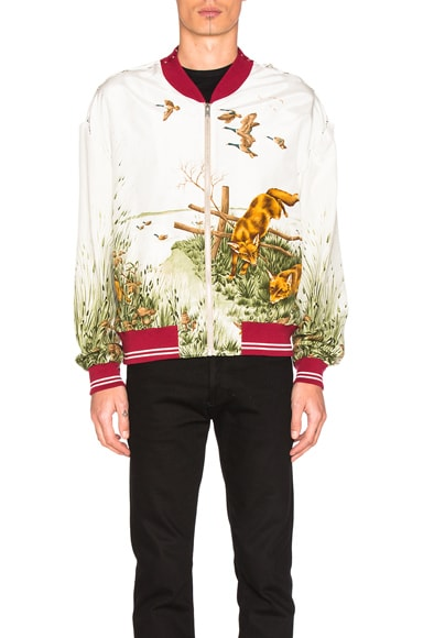 Maison Margiela Silk Bomber in Foxes & Off White