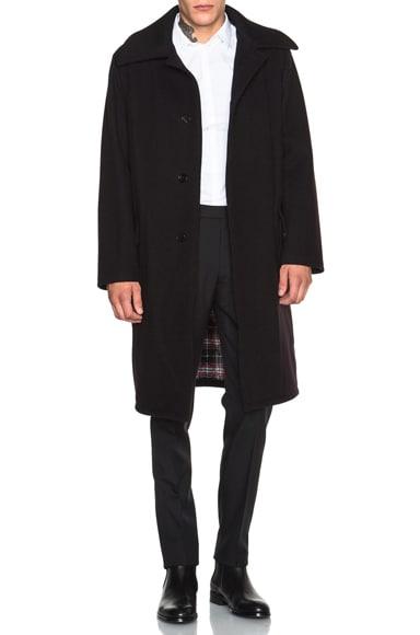 Maison Margiela Dry Felt Coat in Dark Blue