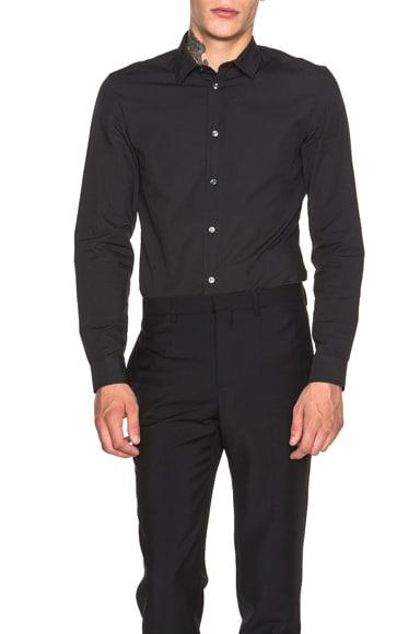 Maison Margiela Slim Fit Garment Dyed Shirt in Black