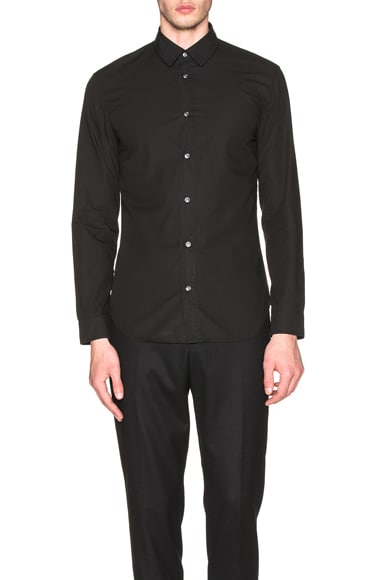 Maison Margiela Slim Fit Garment Dyed Shirt in Black