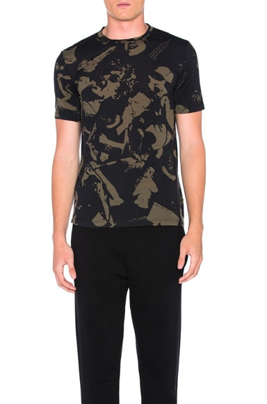 Maison Margiela Archive Print Tee in Black & Khaki