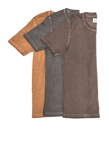 Maison Margiela Fade Tee in Chocolate, Cognac & Grey