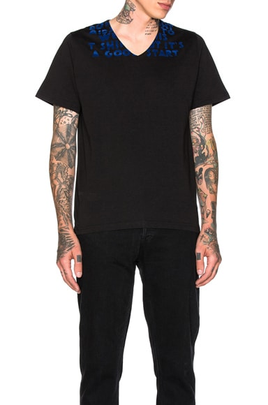 Maison Margiela Flock Tee in Black & Blue