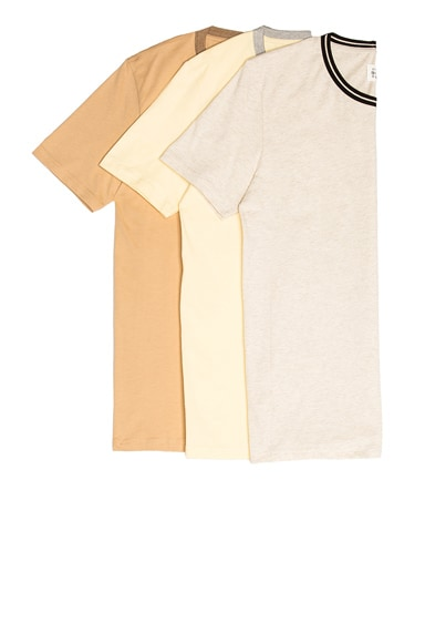Maison Margiela Garment Dyed Tee Shirt Pack in Ivory, Pale Yellow & Skin