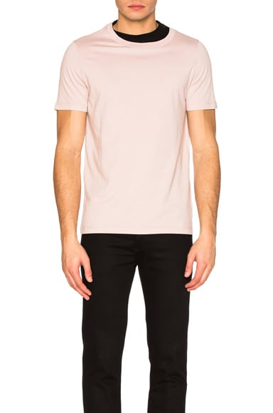 Maison Margiela Cotton Jersey Contrast Tee in Black & Dusty Pink