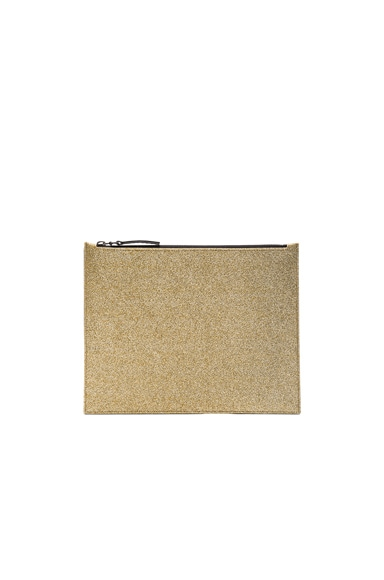 Maison Margiela Glitter & Calf Leather Pouch in Light Gold & Black