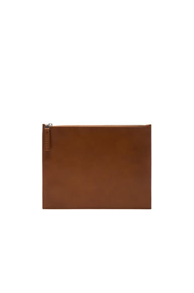 Maison Margiela Calf Leather Pouch in Papaya Tan