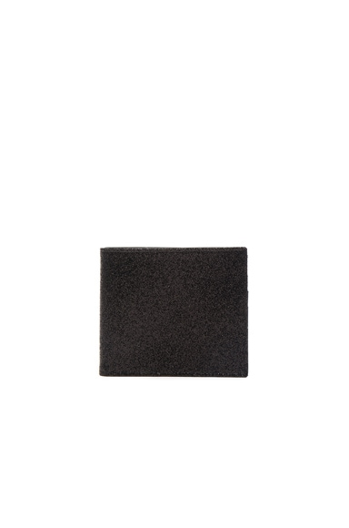 Maison Margiela Glitter & Calf Leather Billfold Wallet in Deep Black
