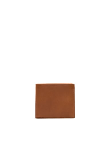 Maison Margiela Calf Leather Billfold Wallet in Papaya Tan