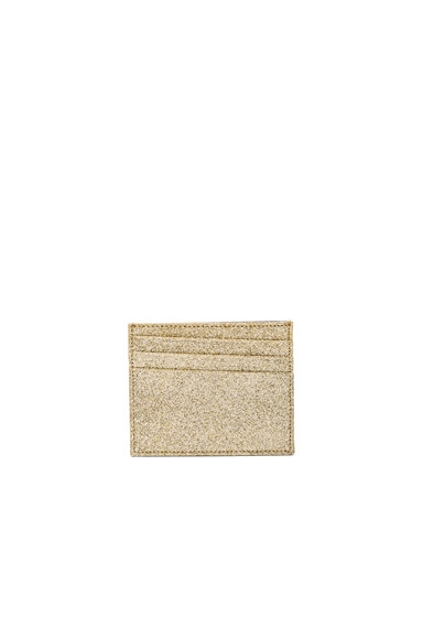 Maison Margiela Glitter & Calf Leather Cardholder in Light Gold & Black
