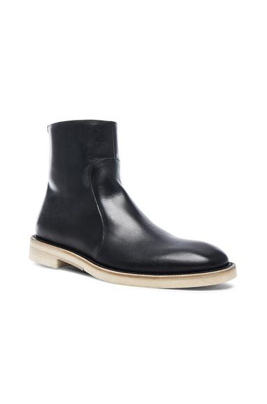 Maison Margiela Brushed Effect Leather Boots in Black