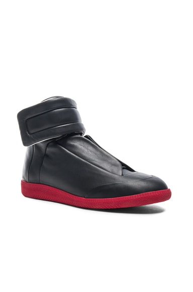 Maison Margiela Calfskin Future High Tops in Black & Red