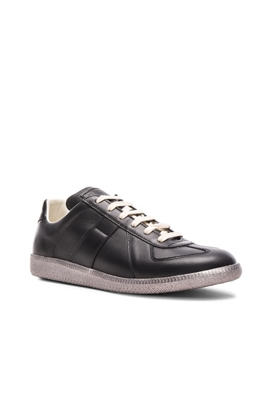 Maison Margiela Leather Replica Sneakers in Black & Gunmetal