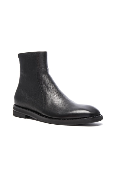 Maison Margiela Brushed Effect Leather Boots in Black