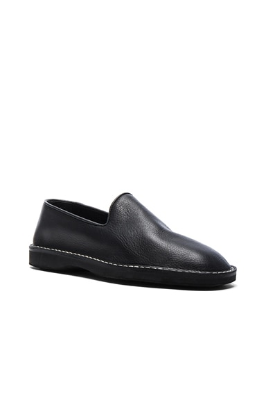 Maison Margiela Leather Slippers in Black