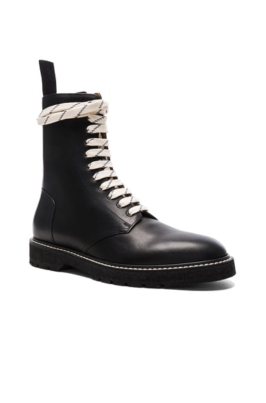 Maison Margiela Light Brushed Leather Combat Boots in Black