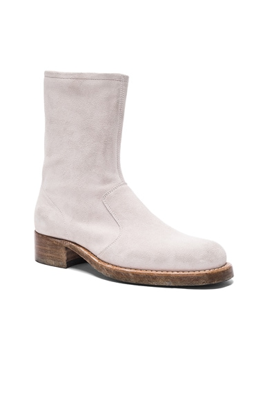 Maison Margiela Vintage Treatment Suede Boots in Off White