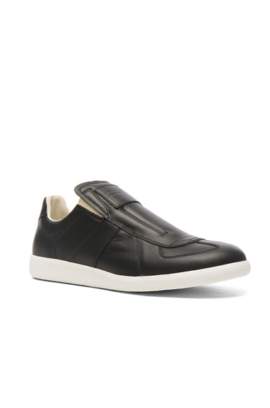 Maison Margiela Calfskin Replica Slip On Leather Sneakers in Black & White