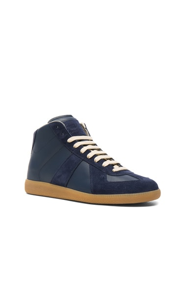 Maison Margiela Calfskin & Suede Replica High Top Leather Sneakers in Blue & Amber