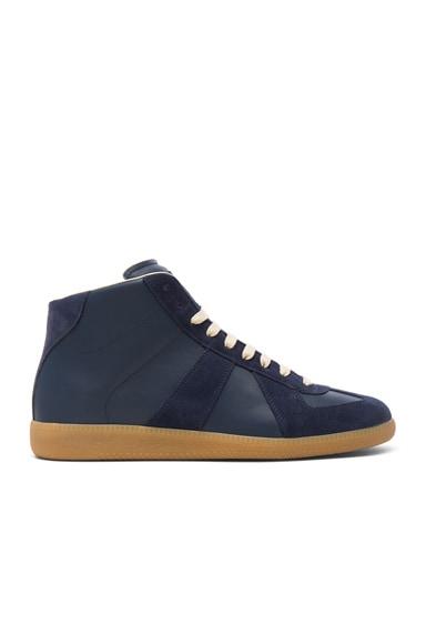 Calfskin & Suede Replica High Top Leather Sneakers