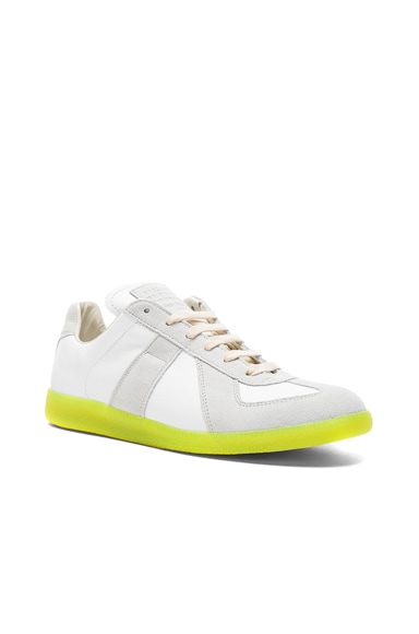 Maison Margiela Leather Replica Sneakers in Off White & Yellow