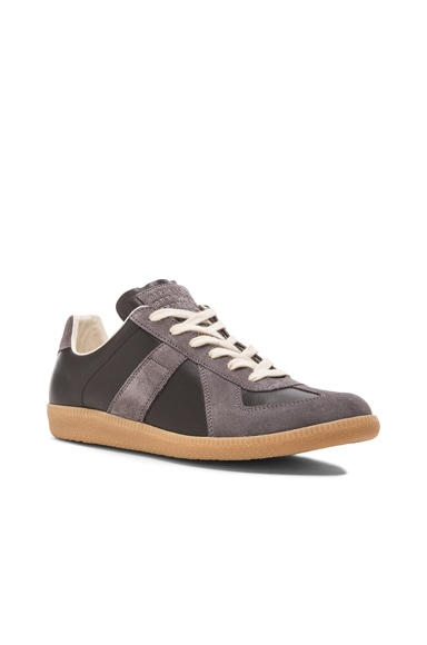 Maison Margiela Replica Calf & Lambskin Leather Sneakers in Black