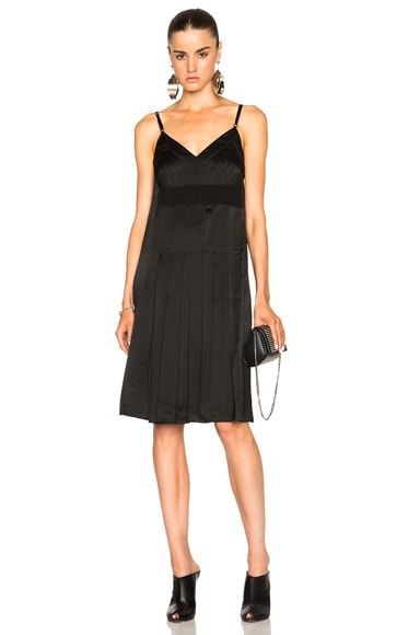 Maison Margiela Heavy Viscose Satin Pleat Dress in Black