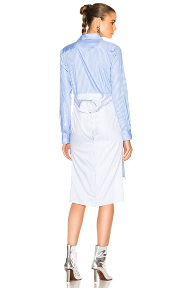 Maison Margiela Striped Cotton Poplin Shirt Dress in Blue
