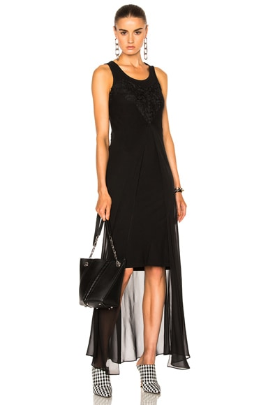 Maison Margiela Pure Silk Georgette Dress in Black