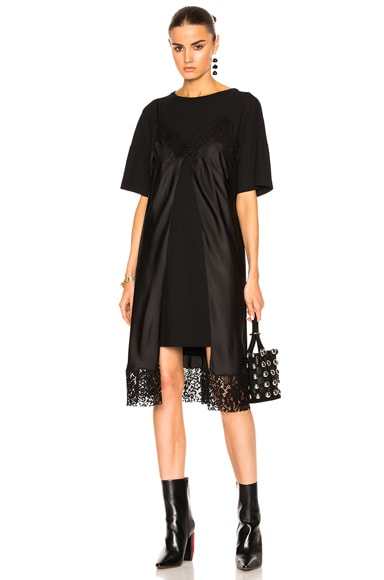 Maison Margiela Pure Silk Twill Dress in Black