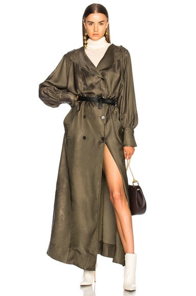 Twill Maxi Wrap Dress