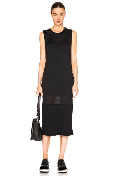 Maison Margiela Ribbed Knit Jersey Dress in Black